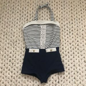 Janie & Jack Nautical Striped Halter Swimsuit